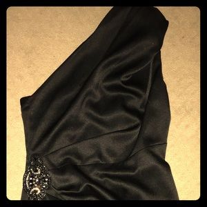 Black one shoulder cocktail dress, size 8